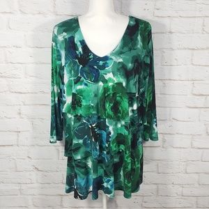 Susan Graver Printed Liquid Knit Tiered Top Large
